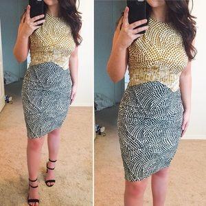 H&M Midi Gold & Dark Blue Dress